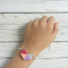 bracciale geometrico fucsia argento 2