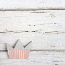 spilla corona rosa argento