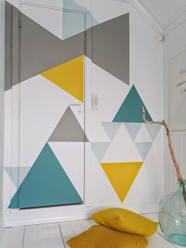 Wall decor decorare le pareti con i triangoli tulimami - Decorare pareti con disegni ...