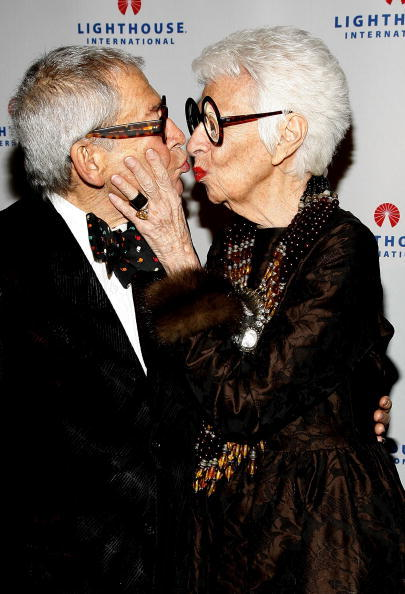 NEW YORK - OCTOBER 20: Iris B. Apfel and Husband Carl Apfel attend the 2008 Lighthouse International Light Years Gala at Cipriani 42nd Street on October 20, 2008 in New York City. (Photo by Joe Kohen/Getty Images)