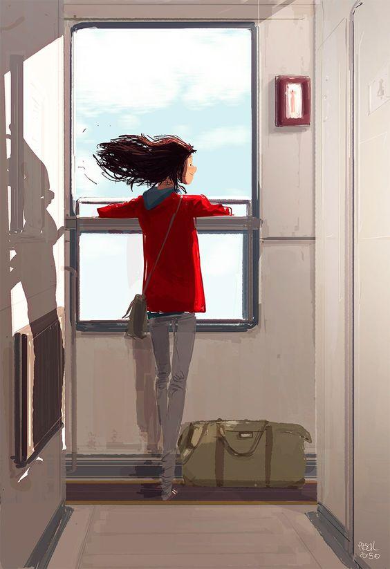 treno ragazza triste